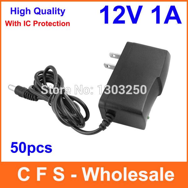 AC 100V-240V Converter DC 12V 1A Power Supply Adapter Adaptor With IC Protection US Plug Free shipping wholesale 50pcs(China (Mainland))