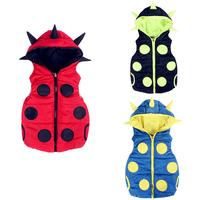 Cartoon Baby Vest For Unisex Winter Hedgehog Children Outerwear Sleeveless Hooded Waistcoat Boys Girls Autumn Dot Clothing V034