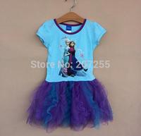 New designs Free shipping children GIRS Frozen anna elsa blue short sleeves TUTU dress summer  PURPLE high quality 6pcs/lot