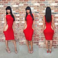 Hot Sale Europe knee length cutout sheath vestidos nightclubs bandage dress S M L Dropship  RYT456