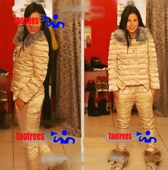 Taotrees вниз установить новый корейской зимой шерсть короткая версия тонкий негабаритных хлопка-ватник женский меховой воротник костюм