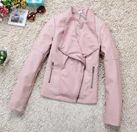 14 New Fashion Autumn Winter Women Brand Faux Soft Leather Short Jacket Pu Black Pink Blazer Zipper Long Sleeve Motorcycle Coat