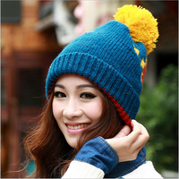 New Korean Fashion Rabbit Fur Ball Decorate Women Beanies Knitted Hats Caps For Winter 8 Colors For Choose,Free Shipping