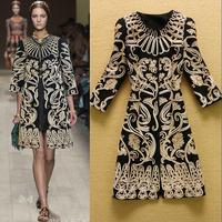New 2014 Winter Runway Women's Golden Embroidered Flowers Trech Coat Plus Size Woolen Outwear F16486