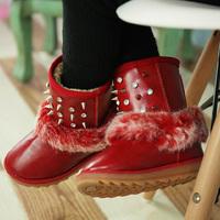 2014 Winter children rivet fur leather snow boots girls princess cotton-padded warm shoes martin boots cotton boots DZ0370