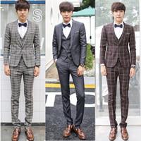 ( Jacket + pants + vest ) 2014 New Good quality fashion leisure men suits slim grid groom wedding dress