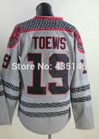 Free shipping Hockey jerseys 2014 mens #19 Jonathan Toews Gray Authentic Ice Hockey Jersey size: 48-56 can mix order