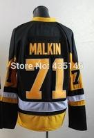 Free shipping Hockey jerseys 2014 mens #71# Evgeni Malkin black  Authentic Ice Hockey Jersey size: 48-56 can mix order
