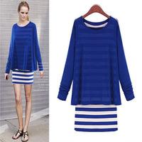 FREE SHIPPING 2014 Fashion Striped Faux Two Piece Winter Dress AI107 Women Casual Long Sleeves Dress