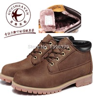 2014 New Arrival Winter Warm Plush Inside Genuine Top Layer Leather Men Outdoor Work Safety Ankle Boots Leisure Work Shoes