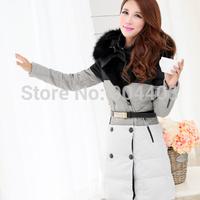 Free Shipping Plus Size Slim Thickening Large Fur Collar Down Jacket  For Women Medium-Long Female