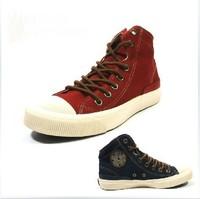 3 Colors Plus size 35-44 Canvas Shoes For Women and Men 's High retro Lace Up Shoes Vintage High upper Flats shoes Cotton Black