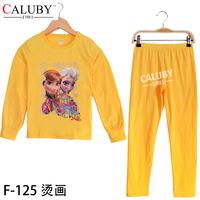 New Year sports kids sets Winter Christmas 8T- 12T child 2 piece suit Pyjamas Printed GIRL sets yellow Elsa Anna frozen pyjamas