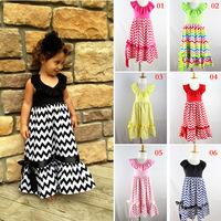 Beautiful Girl's Long Beach Dress Kids Cotton Chevron Dress with Ruffled Neck and Ribbon Bow Swing Cute Children Party Dresses