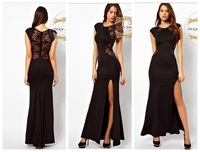 Free Shipping Ladies Sexy Fashion Show Thin Evening Dress Hollow-out Split Dress Lace Skirt Nightclub Behind Long Dress 12045