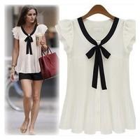 Fashionable loose chiffon shirt Women's ruffle sleeve solid bow tops summer lady's all-match shirt Fast Shipping 6 size