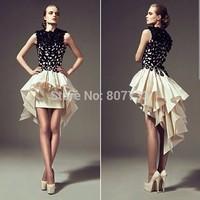 CY4042 Unique 2015 Fashion Ladies Black Champagne High Low Prom Dresses Vestido de Festa Ruched