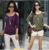 Autumn fashion ol style spaghetti strap slim long-sleeve T-shirt