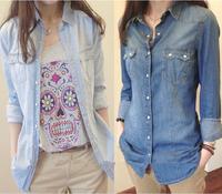 Hot sale European style women denim blouse slim shirt lady's elegant quality blouse 2014 spring fashion denim blouse B-2028