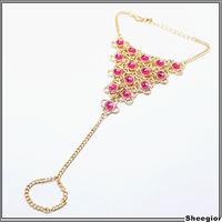 2014 Fashion Celebrity Crystal Beads Bracelets Chain Tassel Bangle Bracelets Slave Finger Ring Hand Chain Harness Gold