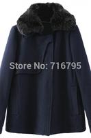 Winter Woolen Coat Popular Women Long Sleeves Navy Wool Coat Free Shipping