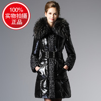 Europe luxury large female long waisted slim down jacket Racoon hair fur collar down jacket 1010-season clearance sale