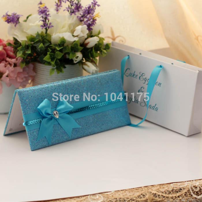 Shinny dobrável cartão de convite de casamento combinado com uma bolsa 100 pçs/lote(China (Mainland))
