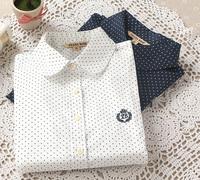 new 2015 formal women shirts polka dot cotton turn-down collar ladies blouses long sleeve plus size s,m,l,xl, women tops J0942