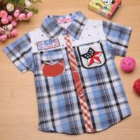 2014 New Arrival Baby Boys Shirt Spring Autumn Plaid Cotton 100% Grid Short Sleeve Purple Print Children Blouse School Outerwear