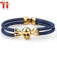 Exclusive design 18K Gold Plated stainless steel skull bangles Genuine Black Stingray Leather Bracelet