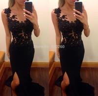 Vestido Formatura Masquerade Gowns Floor Length Gown Elegant Long Lace Applique Black Prom Dresses 2014 Women Pageant Dress