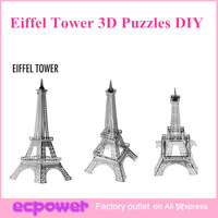 Newest Christmas Gift Eiffel Tower 3D Puzzles DIY Nano Metal Micro Three-Dimensional Sculpture 5 Sets Free Shipping