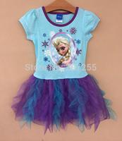 New designs Free shipping children clothing GIRS Frozen  princess anna elsa short sleeves TUTU dress summer  PURPLE high quality