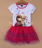 New designs Free shipping children GIRS Frozen  princess anna elsa WHITE short sleeves TUTU dress summer  PURPLE high quality