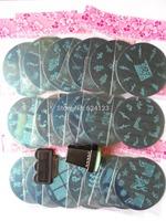 7cm Nail Art Stamping Plates 10 pieces/lot +1 stamper set