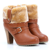 New 2014 Winter Thick Heel Ankle Boots For Women Sexy Ladies Casual Platform High Heels Motorcycle Boots Women Ridding Boots