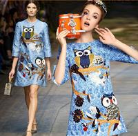 fashion new women elegant designer eagle printed autumn dresses ,luxury blue vintage dress 2581F 4028