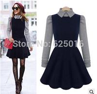 2014 new winter women dress black Slim long sleeve Velvet Skater Dress Wool Thickening Sexy Dress for women