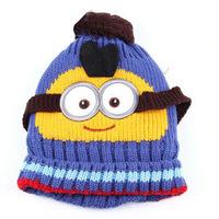 Lovely Despicable Me baby hats caps kids boy girl crochet beanie hats plus velvet winter cap baby child wool knitted hat  MZ51