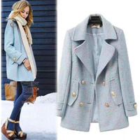 Women spring Autumn New Warm Double Breasted Long Wool Trench Coat Fit turn-down suit collar overcoat with porkets