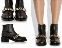 REAL PHOTO!Top Leather Gold Silver Chains Link Ankle Boots Rubber Sole Chunkly Heels Ladies Dress Shoes