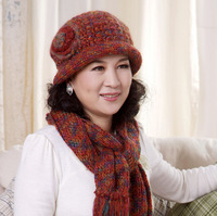 Winter basin hat female quinquagenarian women's yarn winter hat scarf twinset Mother festival gift