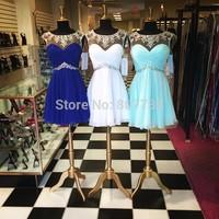 CY3744 Royal Blue White Vestido de Chiffon Beaded Cocktail Homecoming Dresses Party Short 2015
