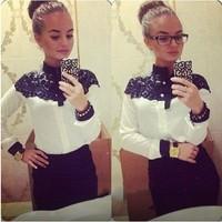 Free shipping 2014 New style women lace patchwork blouse shirts Cape-style chiffon casual shirt stitching lady clothing new