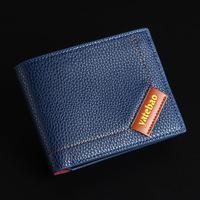 Horizontal bi-fold men wallets genuine leather & PU purses male BLR0818