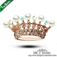 Christmas Gift 18K Gold GP Cheap Pearl Rhinestone Crown Pins Brooch 10pcs/lot Free Shipping