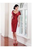 elegant knee length red Evening Dress