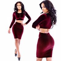 New Fashion 2014 Women Sexy 2 piece Bandage Dress Slim Bodycon Corduroy Wine Red Evening Mini Dresses NTDR-864