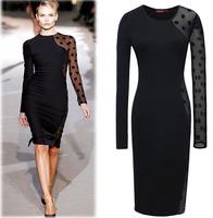 New Arrival 2014 Women Dresses Pluz Size Black Lacy Autumn Dress For Women Vestido Women Clothing