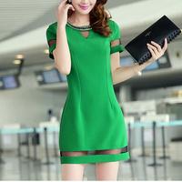 new arrival women short sleeve business work patchwork dresses ,fashion designer party dress 3 colors 108199